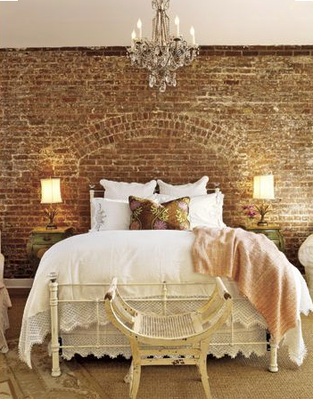 bedroom-exposed brick-Shelterness.com