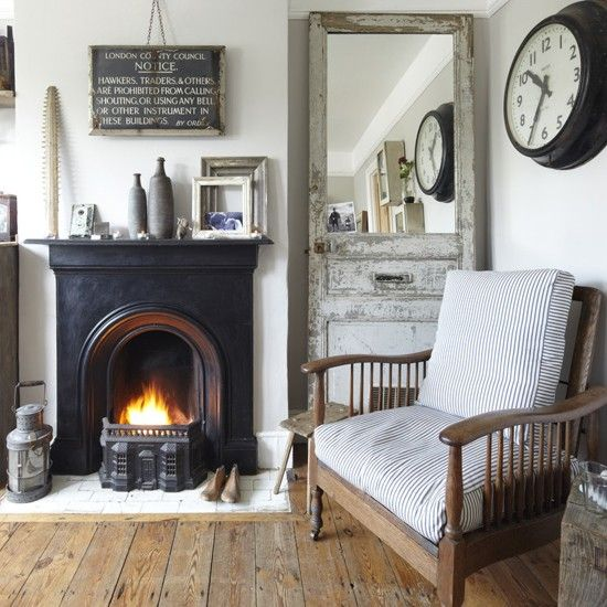 shabby fireplace